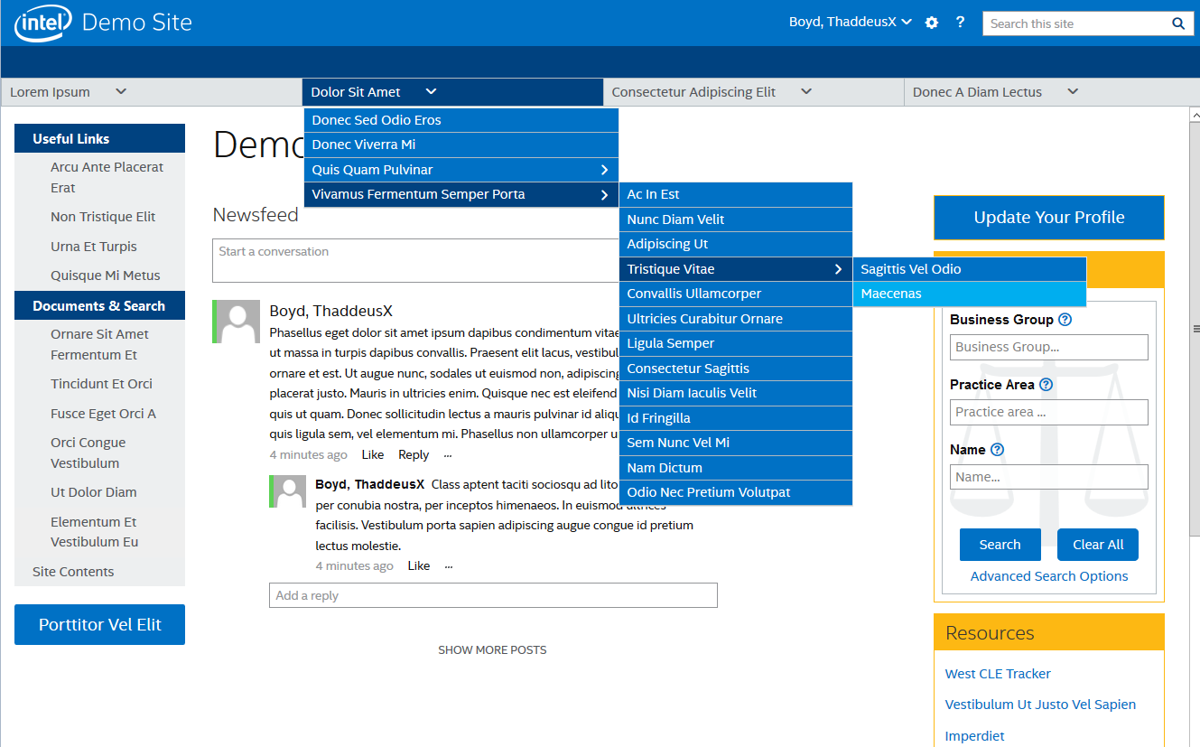 Intel Legal Portal layout